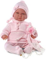 Llorens Lala síró újszülött baba rózsaszín gyapjúruhában - 40 cm