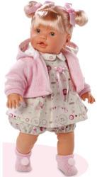 Llorens Llorona szőke síró baba rózsaszín kabátkában - 48 cm