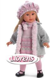 Llorens Martina baba szőke hajjal szürke kardigánban - 40 cm