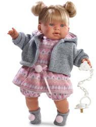 Llorens Tina síró baba szürke kardiganban - 42 cm