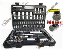 "Topmaster Гедоре Topmaster 108 части SUPER LOCK 1/4 & 1/2"" 4-32mm Cr V Хром-ванидиева стомана (TMP-330159)"