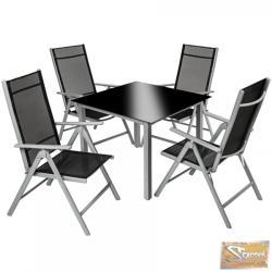 TecTake alumínium ülőgarnitúra 4+1 fekete-szürke 402169