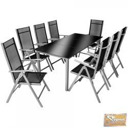 TecTake Aluminium ülőgarnitúra 8+1 fekete-szürke 800354