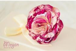 """Megan Flower Life Пръстен """"Триизмерна розово-бяла роза"""