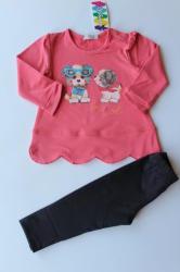 САЛИ / Индиго Кидс Комплект за момиче с тъмно розова туника, 68, 74