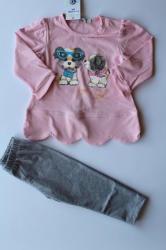 САЛИ / Индиго Кидс Комплект за момиче със светло розова туника, 62, 68, 80
