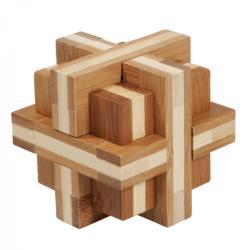 Fridolin Joc logic IQ din lemn bambus Double cross (Fr_17457) - mansardacopiilor