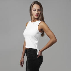 Urban Classics Ladies Lace Up Cropped Top white - gangstagroup - 5 066 Ft
