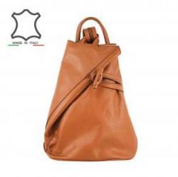 Made in Italy Kúp alakú bőr hátizsák Ilda - konyak barna