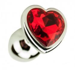 Loving Joy Метален анален разширител в сребристо с кристал-сърце Precious