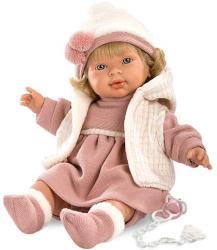 Llorens Marina lány baba kötött ruhában 42cm
