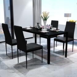 vidaXL Set masă și scaune de bucătărie, cinci piese, negru (242986)