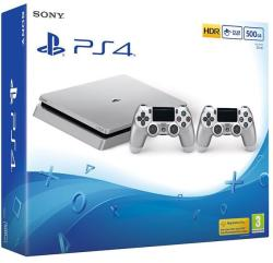 Sony PlayStation 4 Slim Silver 500GB (PS4 Slim 500GB) + DualShock 4 Controller