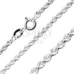 Csillogó 925 ezüst lánc - csavart összekapcsolt szemek, 3 mm