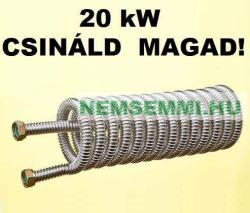 """GRAVIKOL Hőcserélő 20 kW Csináld magad! DN16 inox gégecsőből, 3/4"""" csatlakozóval bojlerbe házilag elkészíthető bordáscső. 1, 1 m2 hasznos felület (HOCSERELO-20KWINOXDN16)"""