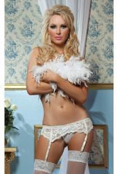 Sexy Lingerie Предизвикателен бял дантелен колан с прашки и жартиери