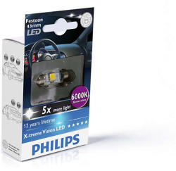 Philips Bec auto led Philips X-tremeVision LED C5W-Festoon 1W 12V 6000K 129466000KX1