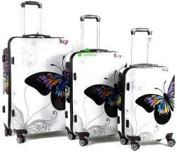 ABS Pillangós 3 részes bőröndszett