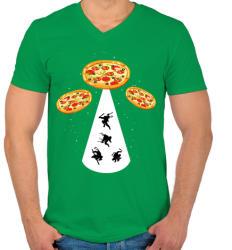 printfashion Pizza UFO - Férfi V-nyakú póló - Zöld