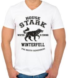 printfashion Trónok harca: Stark house - Férfi V-nyakú póló - Fehér