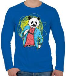 printfashion Filmsztár panda - Férfi hosszú ujjú póló - Királykék