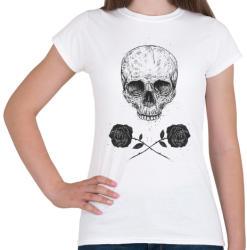 printfashion Skull N' Roses - Női póló - Fehér