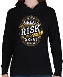 printfashion Kockázat - Női kapucnis pulóver - Fekete