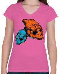 printfashion Skull - Női V-nyakú póló - Rózsaszín