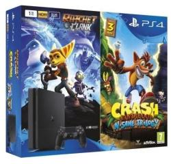 Sony PlayStation 4 Slim Jet Black 500GB (PS4 Slim 500GB) + Ratchet and Clank + Crash Bandicoot Trilogy