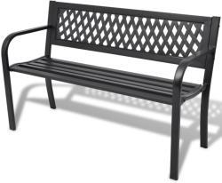 vidaXL Градинска пейка, 118 см, стомана, черна (42169)