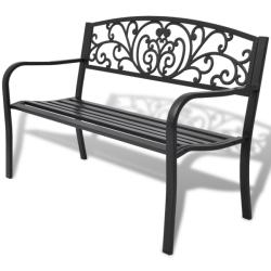 vidaXL Градинска пейка, 127 см, чугунена, черна (42168)