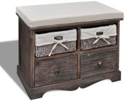 vidaXL Елегантна пейка сандък за съхранение с 4 чекмеджета, цвят: кафяв (240791)