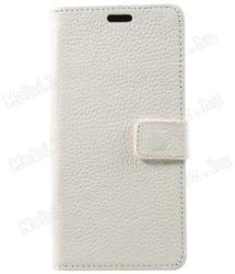 Notesz tok / flip tok - FEHÉR - valódi bőr, asztali tartó funkciós, oldalra nyíló, rejtett mágneses záródás, bankkártyatartó zseb, szilikon belső - APPLE iPhone X / APPLE iPhone XS