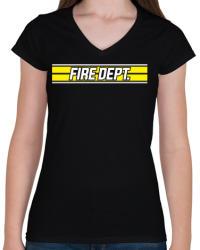 printfashion Fire Dept. - Női V-nyakú póló - Fekete