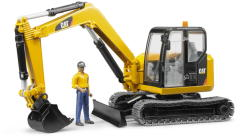 BRUDER Caterpillar mini markológép (lánctalpas kiskotró), munkással (02466)