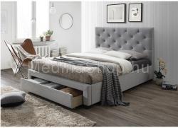 Santola luxus modern ágy lécezett ágyráccsal ellátva, nagy steppelt fejtámlával, szövet/fa , szürke , 160x200cm