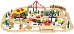 Bigjigs Toys Circuit cu tren marfar - 130 piese (BJT017)