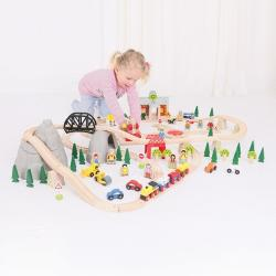Bigjigs Toys Circuit feroviar - 112 piese (BJT016)