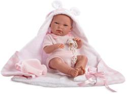 Llorens Újszülött lány baba törölközővel - 38 cm