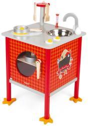 Janod Bucătărie roşie din lemn Janod cu 8 accesorii, The French Cocotte
