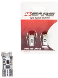 4Cars Bec Led - 4SMD 12V pozitie T10 W2, 1x9, 5d Canbus 2buc 4Cars - Alb focalizat