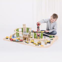 Bigjigs Toys Circuit auto si feroviar Santierul - 116 piese (BJT019)