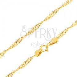 Arany nyaklánc - fényes lapos ovális szemek, spirál, 500 mm
