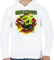 printfashion Fire and Rescue - Férfi kapucnis pulóver - Fehér