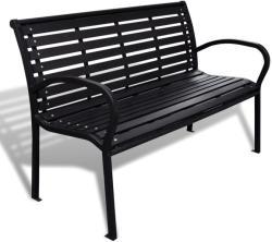 vidaXL Градинска пейка, 125 см, стомана и WPC, черна (41556)