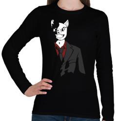 printfashion Üzlet Macska - Női hosszú ujjú póló - Fekete