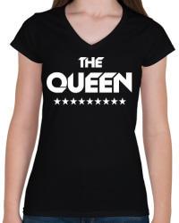 printfashion The Queen - Női V-nyakú póló - Fekete