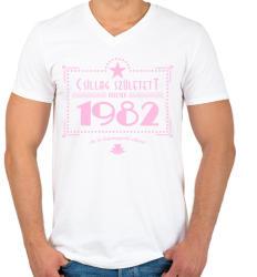 printfashion csillag-1982-pink - Férfi V-nyakú póló - Fehér