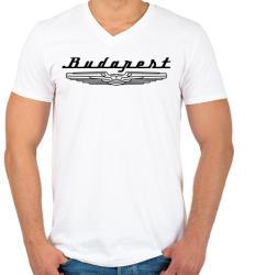printfashion budapest-ikarus-black - Férfi V-nyakú póló - Fehér