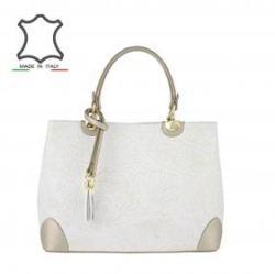 ae4cd27889db Vásárlás: Made in Italy Motívumos olasz bőrtáska Bella - fehér ...